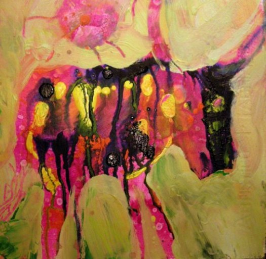 Suzanne Edminster, Little Sun Cow, acrylic on paper, SOLD