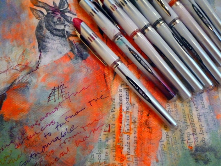Uniball Vision Elite Pens on mixed media painting by Suzanne Edminster