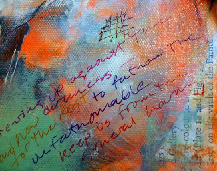 Poem written over dried acrylic mixed media painting by Suzanne Edminster