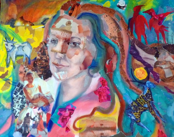 Collage Portrait of Suzanne Edminster by Laura Corben