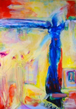 Venus at the Border by Suzanne Edminster,  acrylic on canvas 36 x 48, $1200
