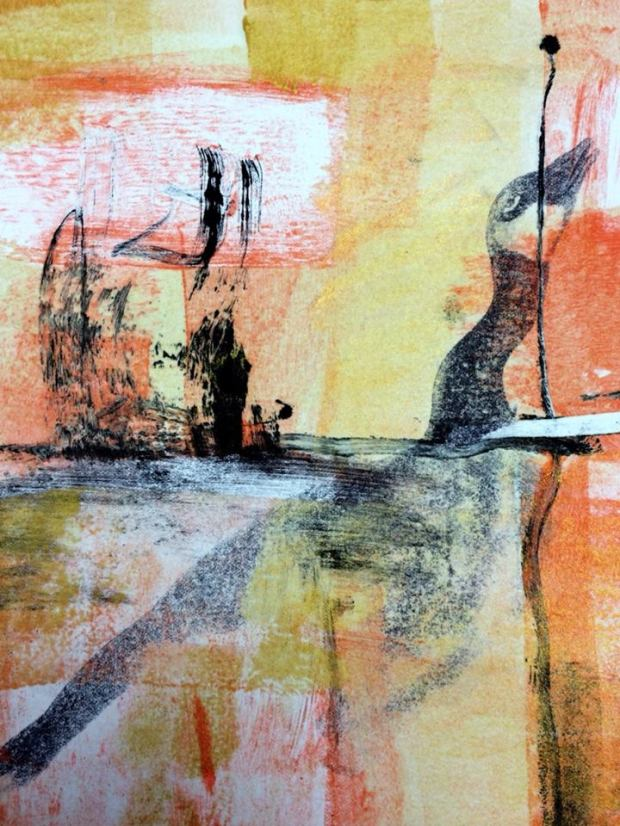 Goose Game series monoprint, Suzanne Edminster