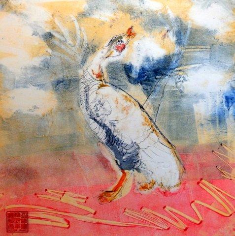 Goose Game monoprint, Suzanne Edminster