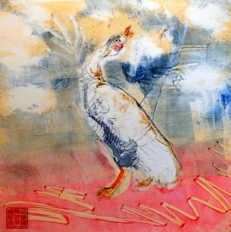 Goose Game monoprint, Suzanne Edminster