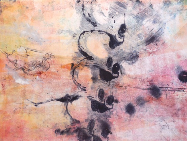 Suzanne Edminster, monotype, Goose Game
