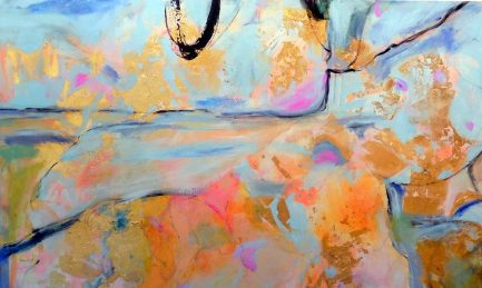 "Suzanne Edminster, Saltworkstudio, abstract painting, Wind Over Water, 48"" x 60"", available"