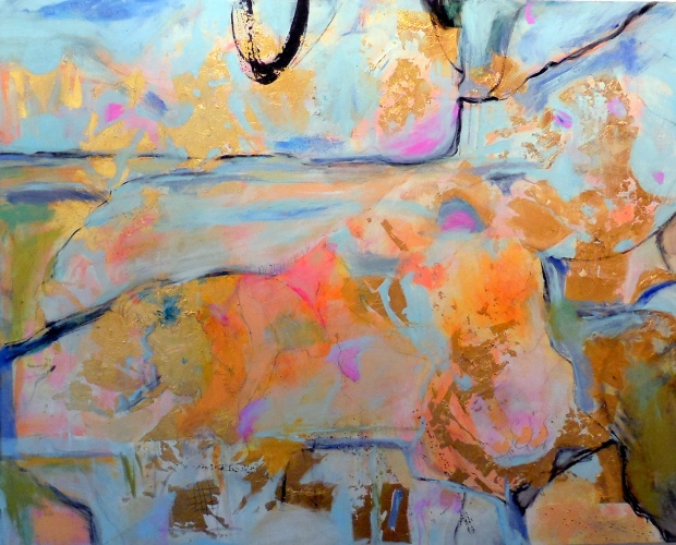 Suzanne Edminster, Wind Over Water, The Goose Game Series.  Acrylic and gold metal leaf on canvas, 45 x 60.