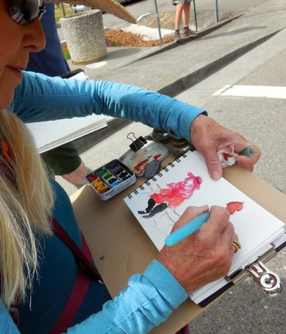 Carole Flaherty sketching