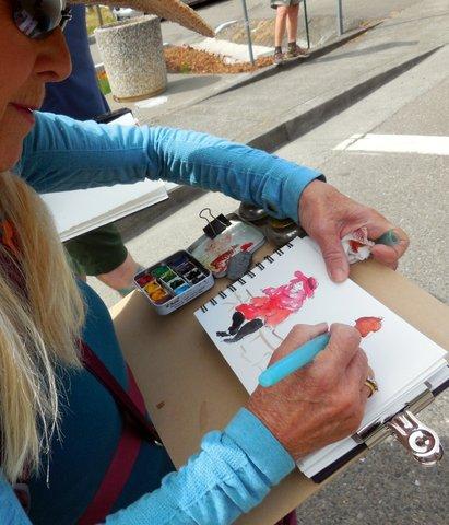 Carole Flaherty sketching