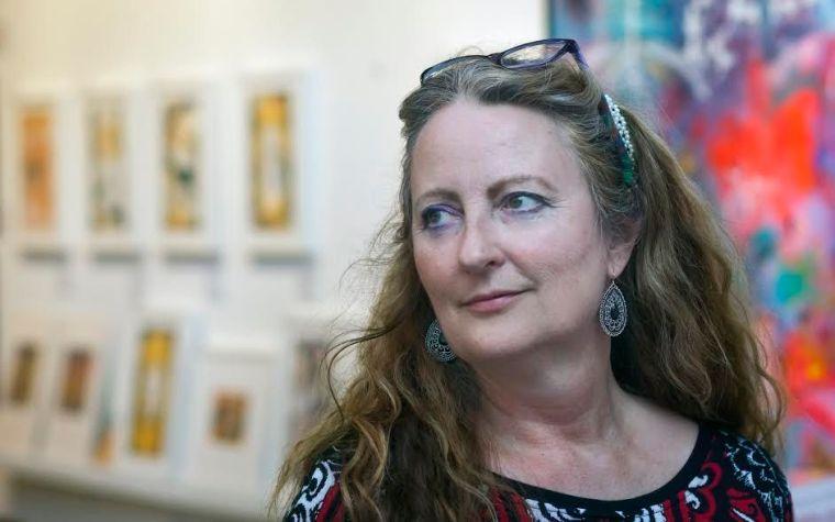 Suzanne at Art Trails 2015. Photo: Adrian Mendoz
