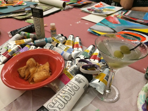 Martini amidst the media-- my workshop table