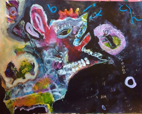 B;itch, Suzanne Edminster, acrylic and other media on panel